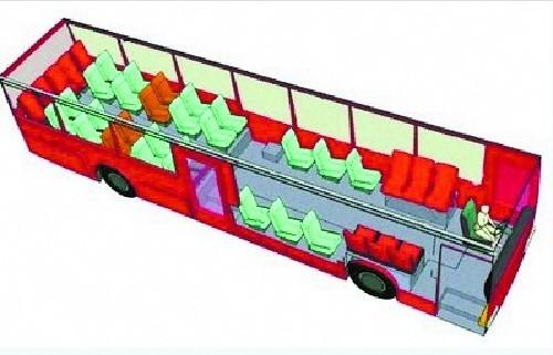 网上热传的公交车座位安全图 红色:最不安全位置 橙色:次不安全位置图片